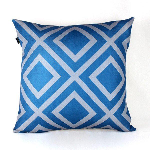 Almofada Georgia Azul Losango Cinza