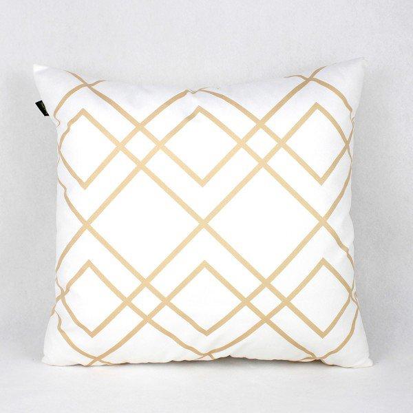 Almofada Esmeralda Branca Linhas Dourada