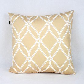 Almofada Esmeralda Dourada Vitral Branco