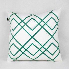 Almofada Esmeralda Branca Linhas Verde
