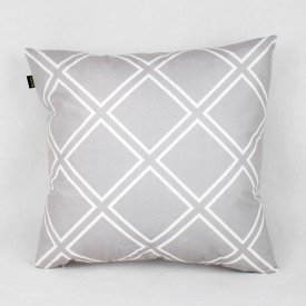 Almofada Esmeralda Cinza Triangular Branco