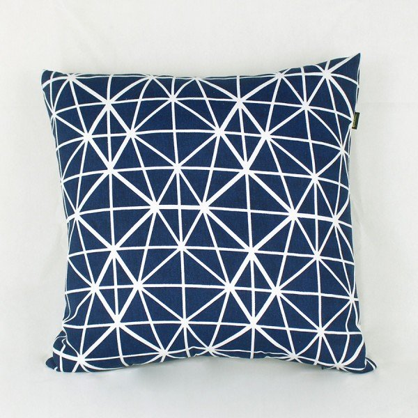 Almofada Granada Azul Listras Branca