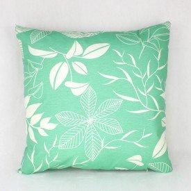 Almofada Aquamarine Verde Flor e Folhas Branca