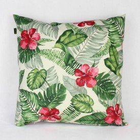 Almofada Aquamarine Costela de Adão Verde Flor Vermelha