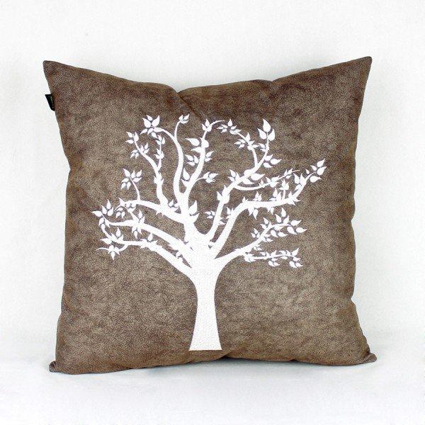 Almofada Turquesa Marrom Árvore Folhas Branca