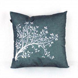Almofada Turquesa Verde Árvore Folhas Branca