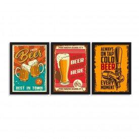 Kit 3 Quadros Decorativos Cervejas Pub Preto