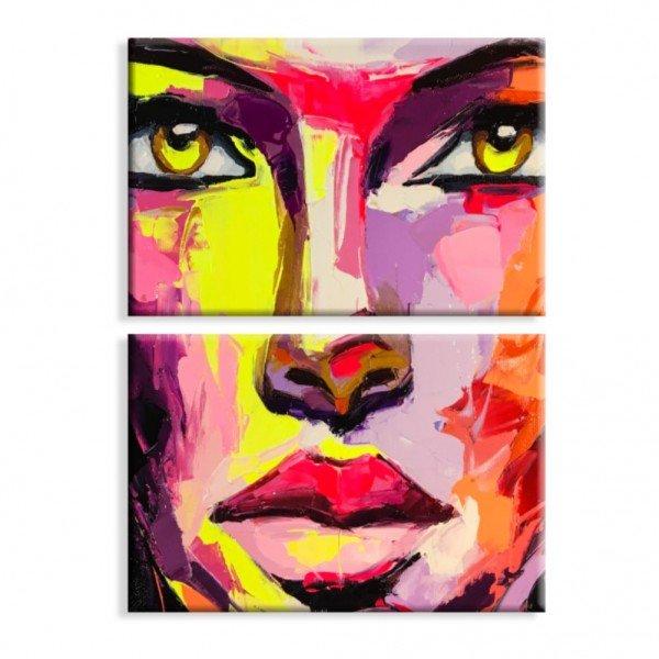 Kit 2 Telas Canvas Rosto Abstrato Vermelho