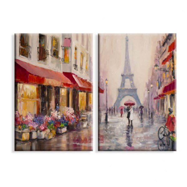 Kit 2 Telas Canvas Chuva Sobre Paris Torre Eiffel