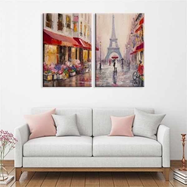 Kit 2 Telas Canvas Chuva Sobre Paris Torre Eiffel