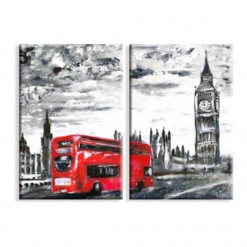 Kit 2 Telas Canvas Routemaster Londres Big Ben
