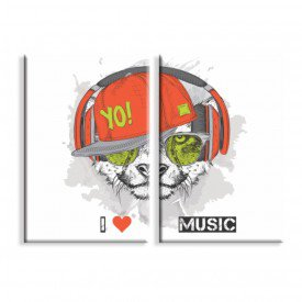 Kit 2 Telas Canvas I Love Music Dog