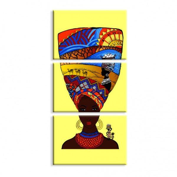 Kit 3 Telas Canvas Cultura Beauty África Turbante Amarelo