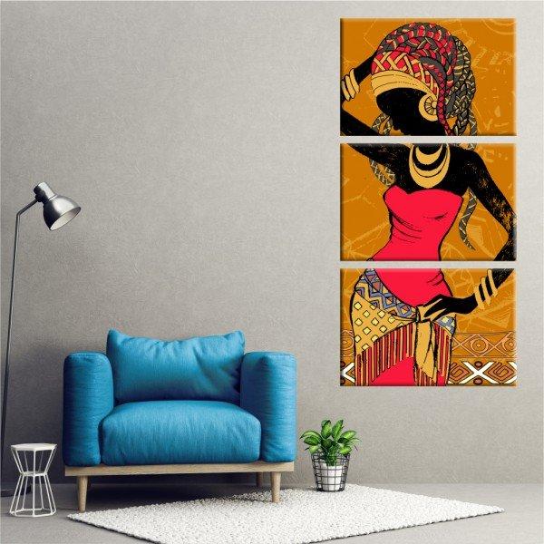 Kit 3 Telas Canvas Cultura África Joias Douradas