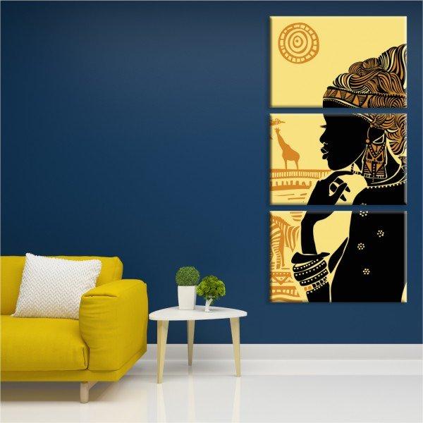 Kit 3 Telas Canvas Cultura África Abstrato
