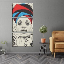 Kit 3 Telas Canvas Cultura Encanto Feminino African