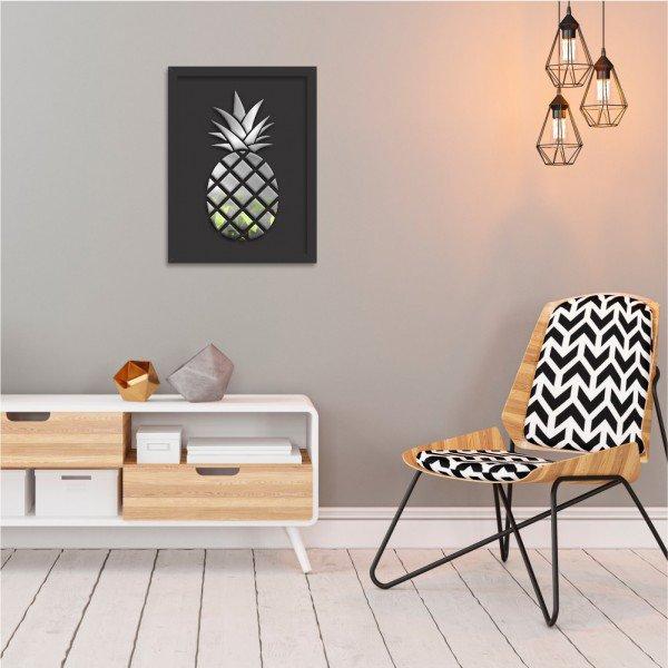Quadro Decorativo em Relevo Espelhado Abacaxi Preteado Preto