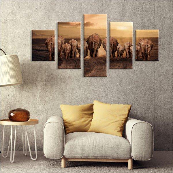Kit 5 Telas Canvas Safari Manada de Elefantes