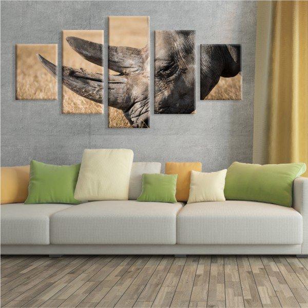 Kit 5 Telas Canvas Safari Rinoceronte