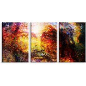 Kit 3 Telas Canvas Religião Cristo Entre as Estrelas