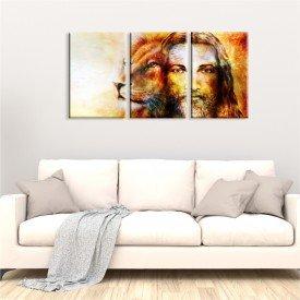 Kit 3 Telas Canvas Religião Cristo Leão de Judá