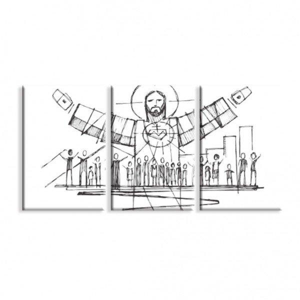 Kit 3 Telas Canvas Religião Jesus Cristo é o Senhor
