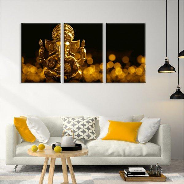 Kit 3 Telas Canvas Ganesha Ouro