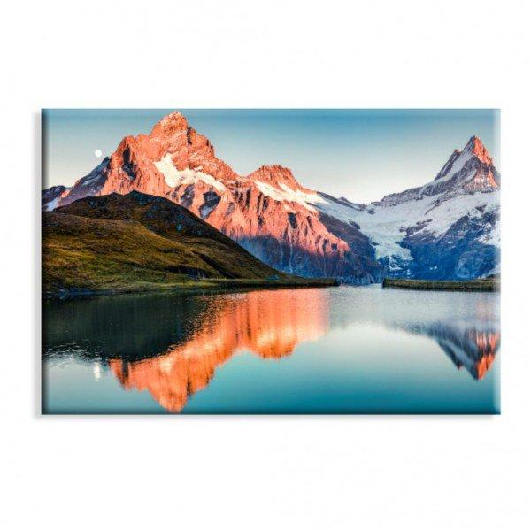 Tela Canvas Lago Azul Sob Montanha
