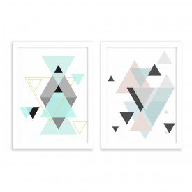 Kit 2 Quadros Decorativos Escandinavo Geométricos Triangulo Branco