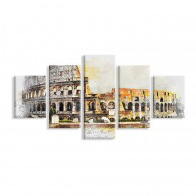 Kit 5 Telas Canvas Coliseu de Roma Pintura