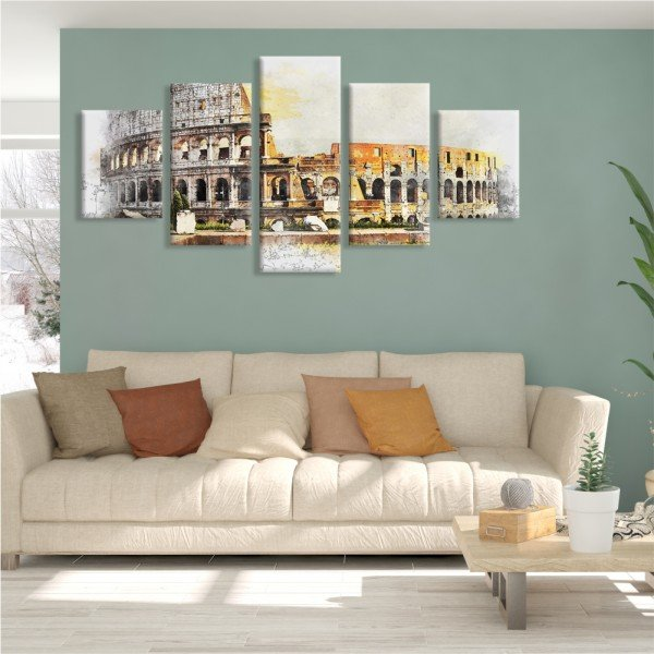 Kit 5 Telas Canvas Coliseu de Roma Pintura