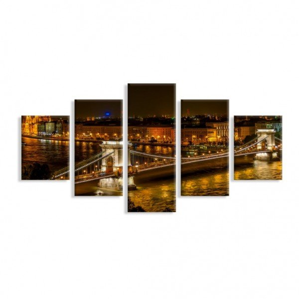 Kit 5 Telas Canvas Ponte Széchenyi Lánchíd Sobre o Rio Danúbio