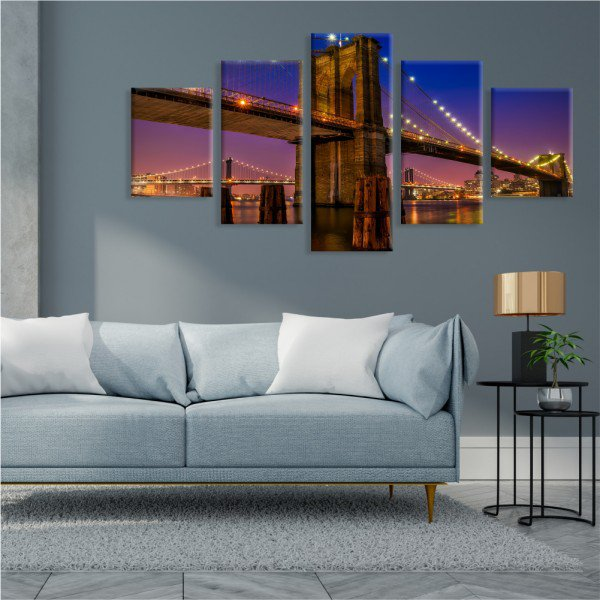Kit 5 Telas Canvas Ponte do Brooklyn Noite