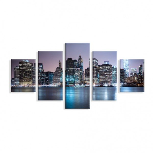 Kit 5 Telas Canvas Manhattan Noite