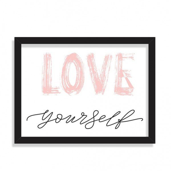 Quadro Decorativo LOVE Yourself Preto