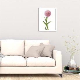 Quadro Decorativo Flor Cartamo Branco