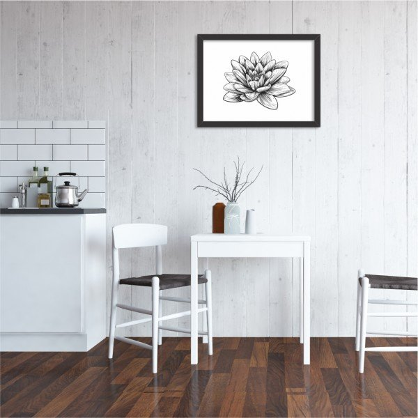 Quadro Decorativo Flor de Lótus Preto e Branco Preto