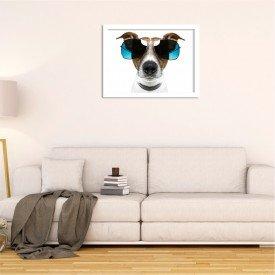 Quadro Decorativo Cachorro Jack Russell de Óculos Branco
