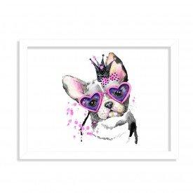 Quadro Decorativo Bulldog Princesa Rosa Pink Branco