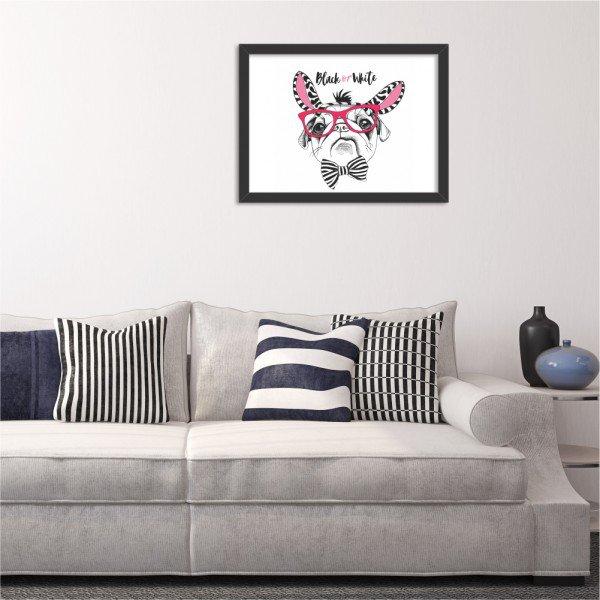 Quadro Decorativo Black or White Pug Preto