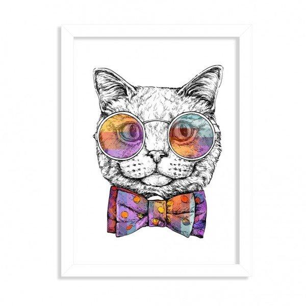 Quadro Decorativo Gato com Gravata Borboleta Branco