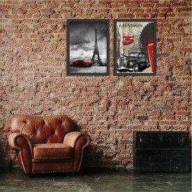 Kit 2 Quadros Decorativos Euro Old School Car Preto