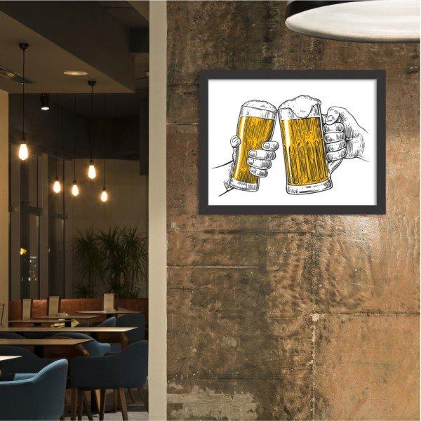 Quadro Decorativo Ein Prosit Bier Brinde Cerveja Preto