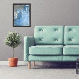 Quadro Decorativo Abstrato Textura Azul Preto