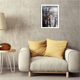 Quadro Decorativo Upside Down Manhattan Branco