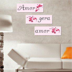 Kit 3 Placas Decorativas Amor Gera Amor