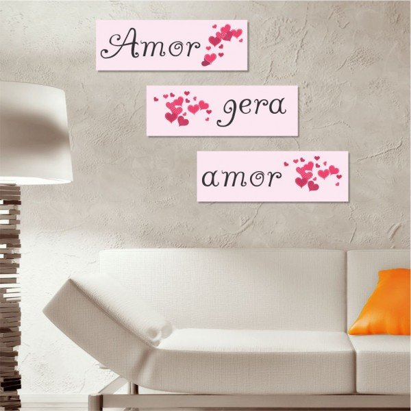 Kit 3 Placas Decorativas Amor Gera Amor
