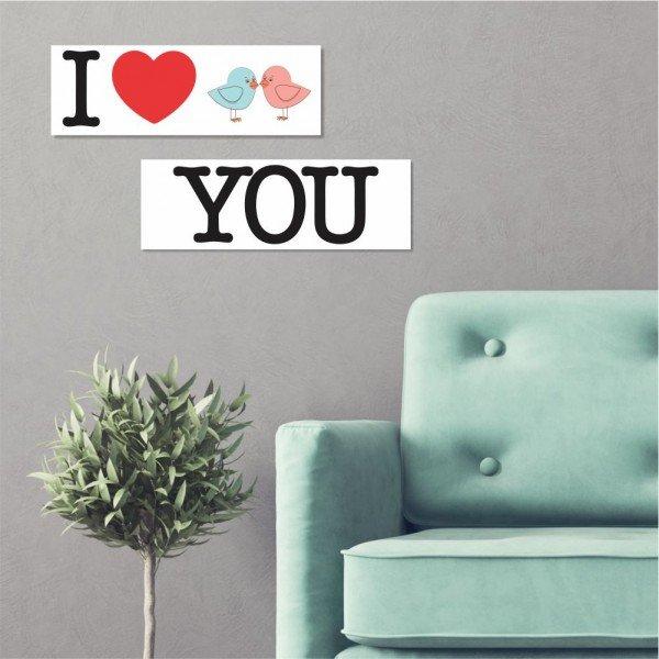 Kit 2 Placas Decorativas I Heart You