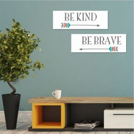 Kit 2 Placas Decorativas Be Kind Be Brave