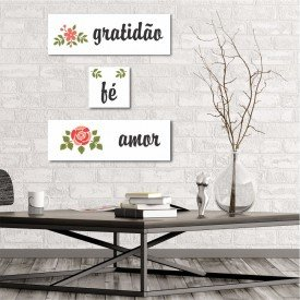 Kit 3 Placas Decorativas Gratidão Fé Amor